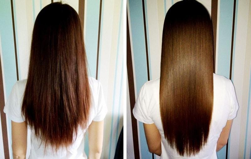 До и после применения рыбьего жира для волос