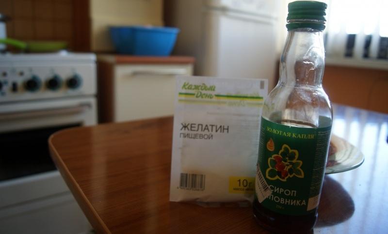 Сироп шиповника и желатин